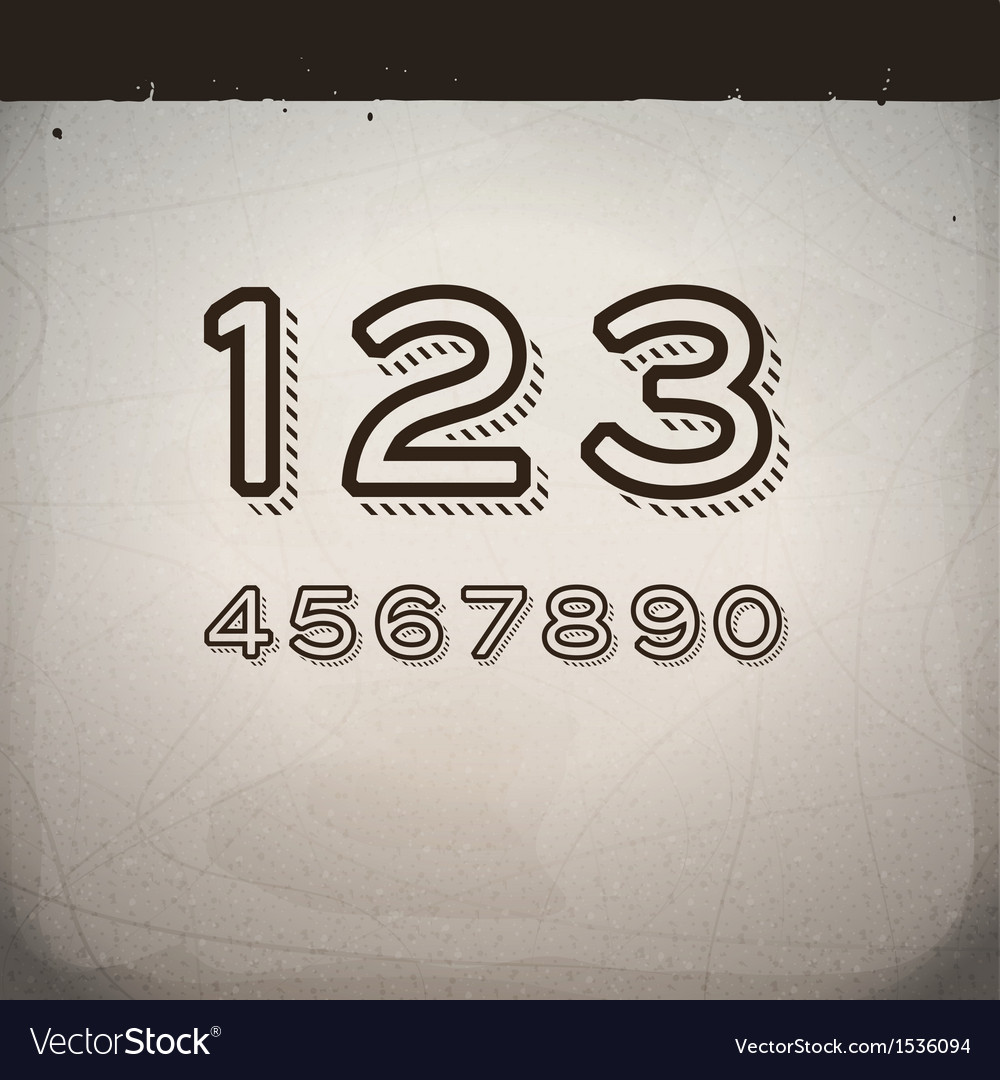Stylish retro numbers vector | Price: 1 Credit (USD $1)