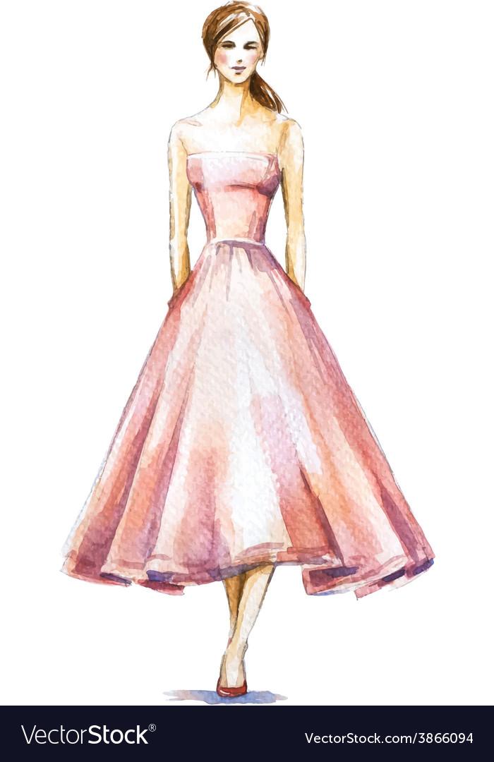 Watercolor fashion vector | Price: 1 Credit (USD $1)