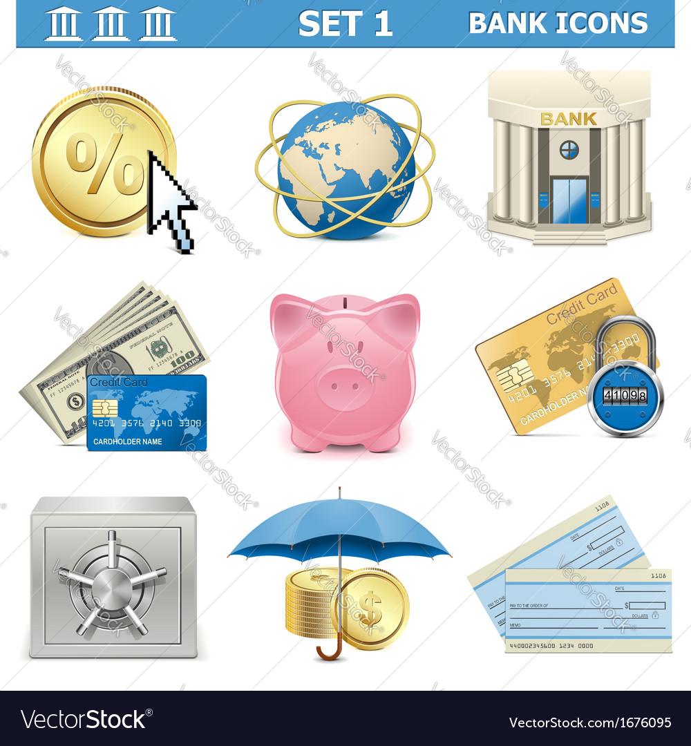 Bank icons set 1 vector | Price: 1 Credit (USD $1)