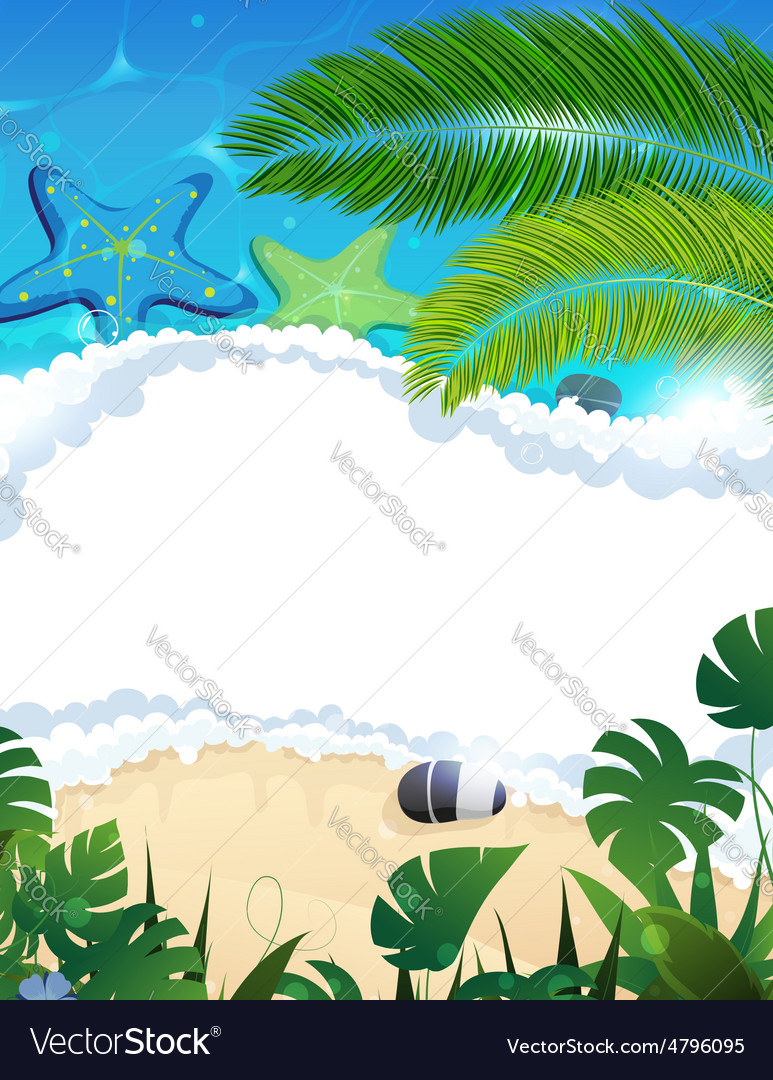 Beach with starfishes and palm branches vector | Price: 3 Credit (USD $3)