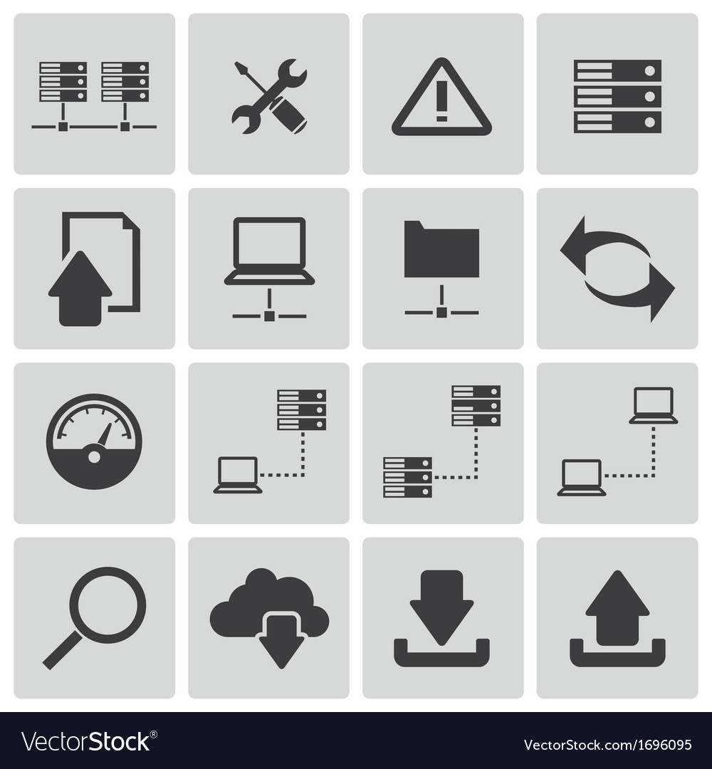 Black ftp icon set vector | Price: 1 Credit (USD $1)