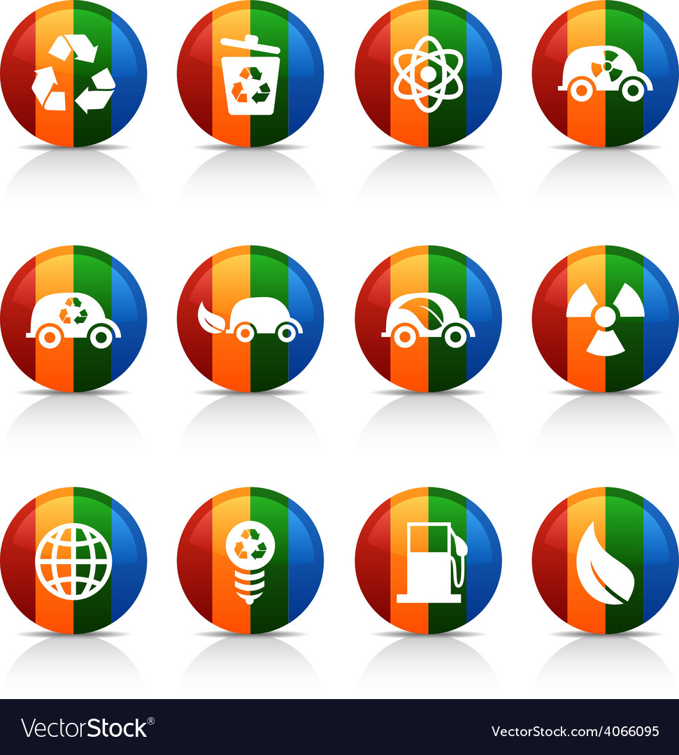 Ecology buttons vector | Price: 1 Credit (USD $1)
