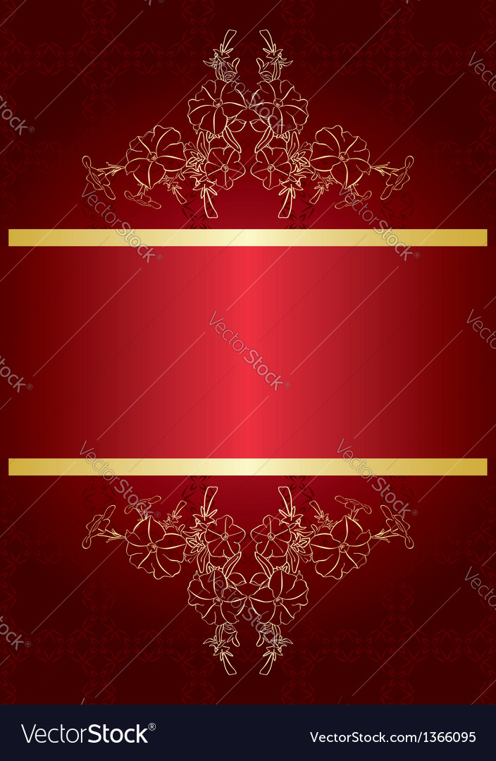 Elegant red card with golden decor vector | Price: 1 Credit (USD $1)