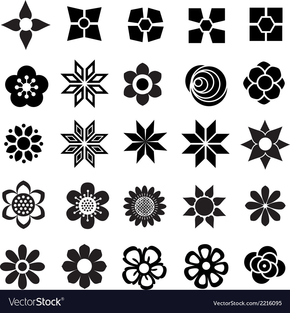 Flower set icon vector | Price: 1 Credit (USD $1)