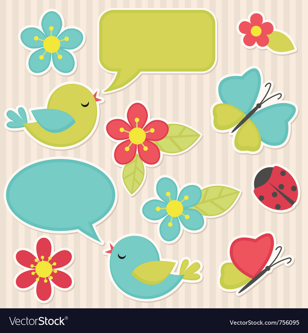 Flowers and birds vector | Price: 1 Credit (USD $1)