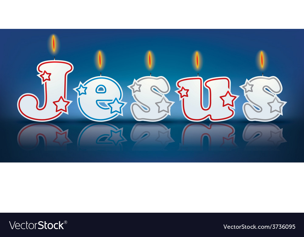 Jesus written with burning candles vector | Price: 1 Credit (USD $1)