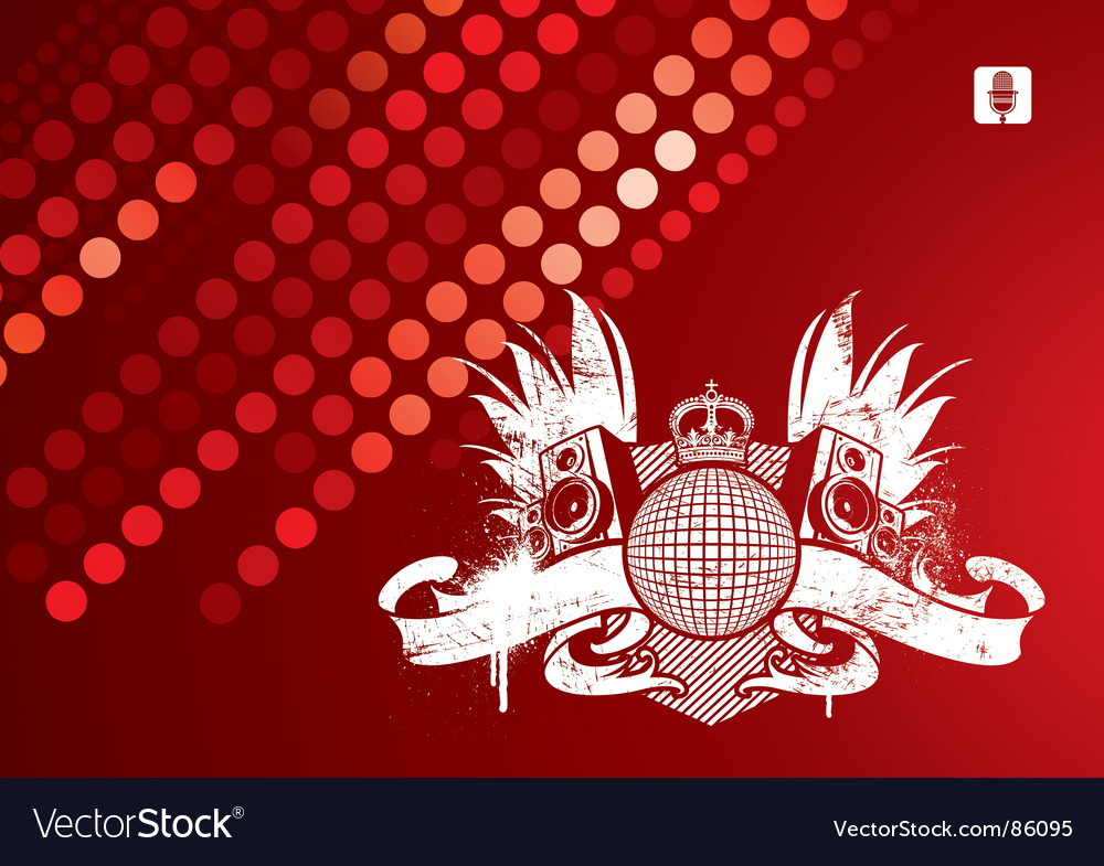 Music emblem with loudspeakers vector | Price: 1 Credit (USD $1)