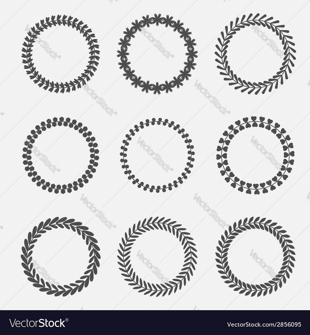 Set of silhouette round laurel wheat wreaths vector | Price: 1 Credit (USD $1)