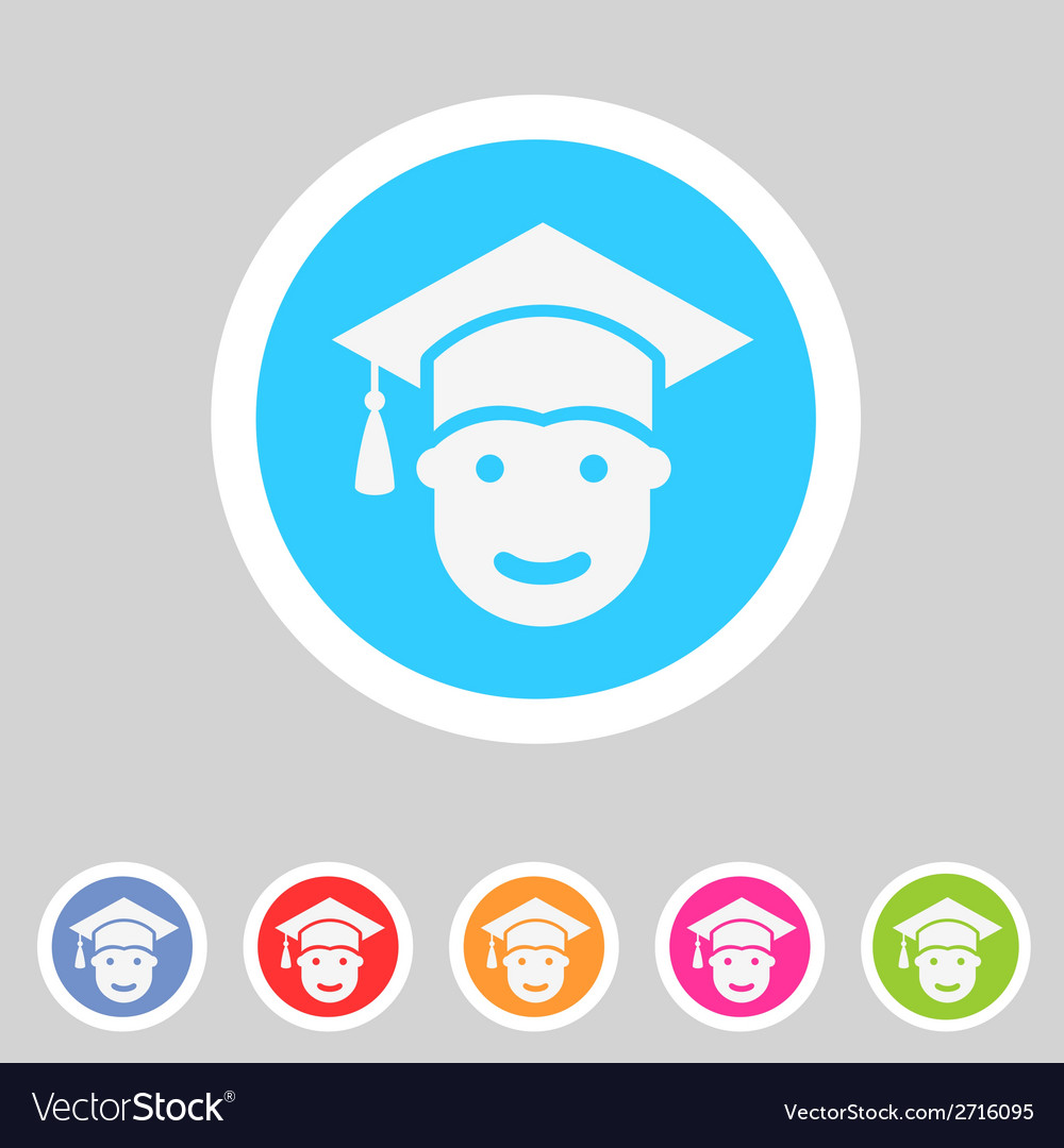 Student in graduation cap flat icon vector | Price: 1 Credit (USD $1)