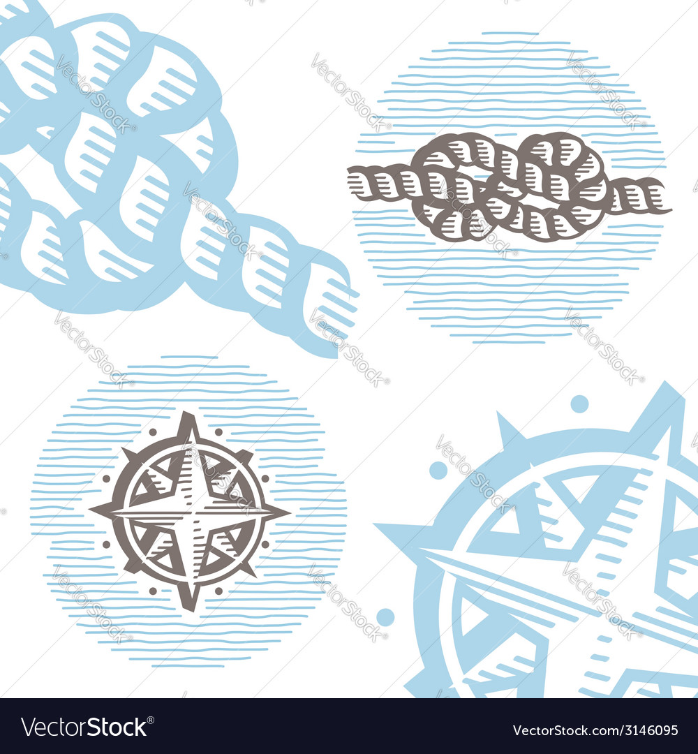Vintage marine symbols icon set engraving knot and vector | Price: 1 Credit (USD $1)