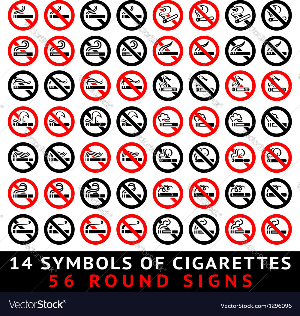 13 symbols of cigarettes 52 round signs vector | Price: 1 Credit (USD $1)