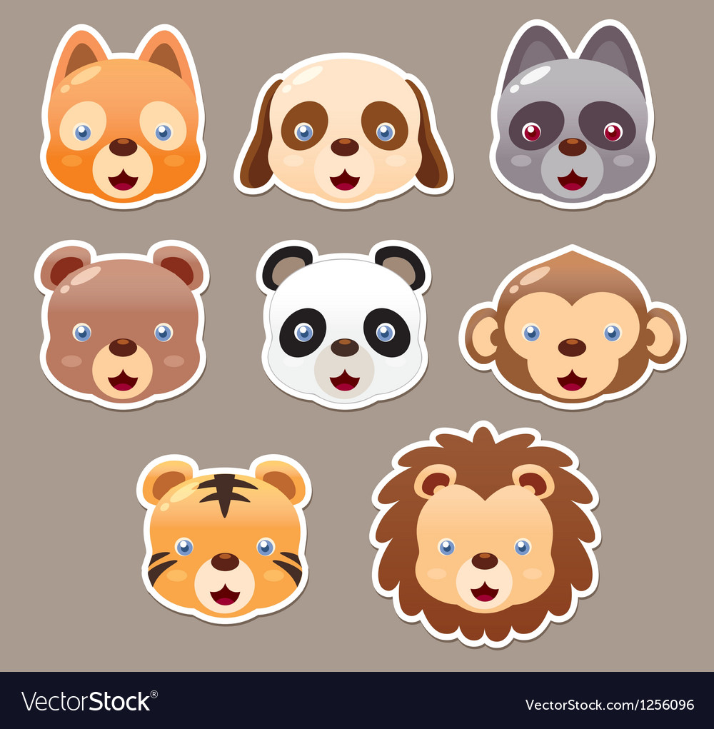 Animals face set vector | Price: 3 Credit (USD $3)