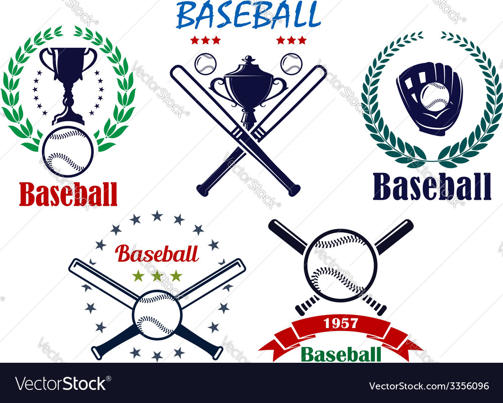 Baseball sporting emblems and symbols vector | Price: 1 Credit (USD $1)
