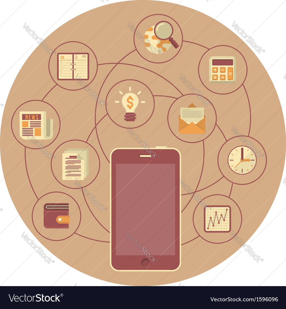 Business mobility concept in brown circle vector | Price: 1 Credit (USD $1)
