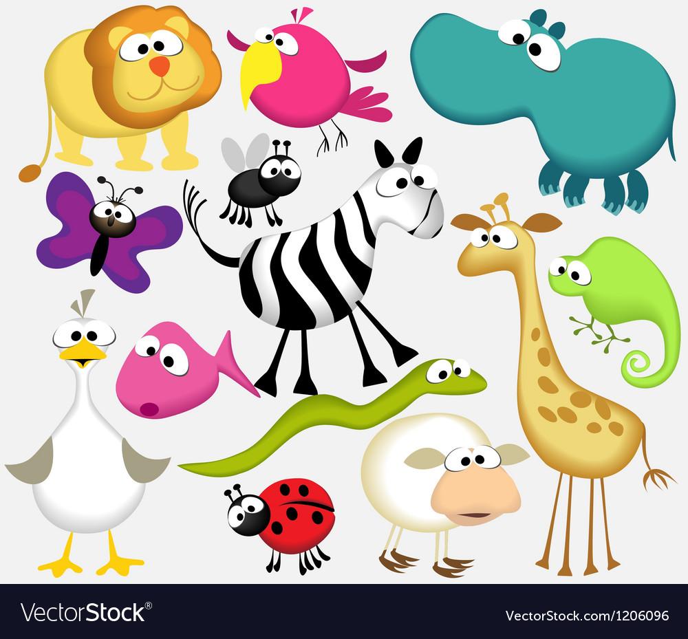 Funny cartoon animals vector | Price: 3 Credit (USD $3)
