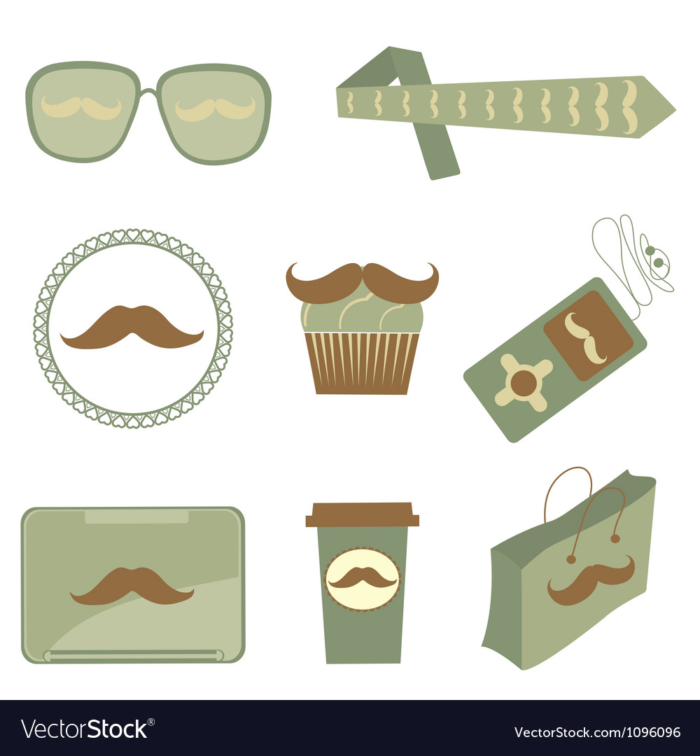 Mustache icons vector | Price: 1 Credit (USD $1)