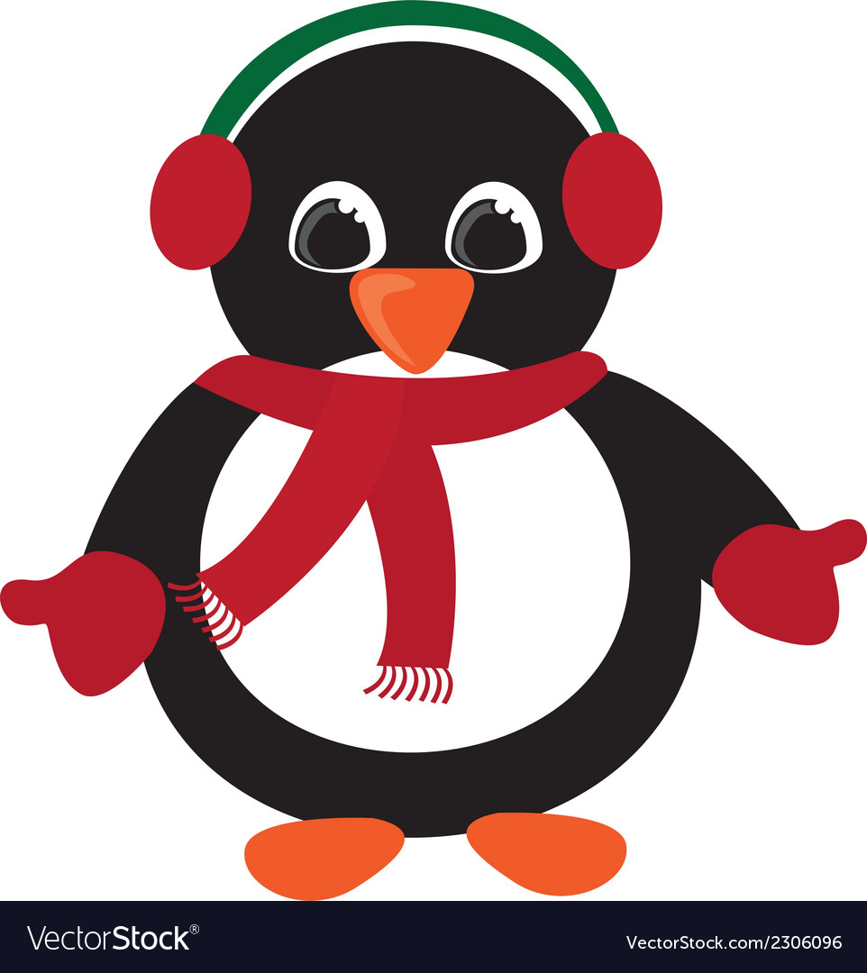 Penguin christmas isolated over white background vector | Price: 1 Credit (USD $1)