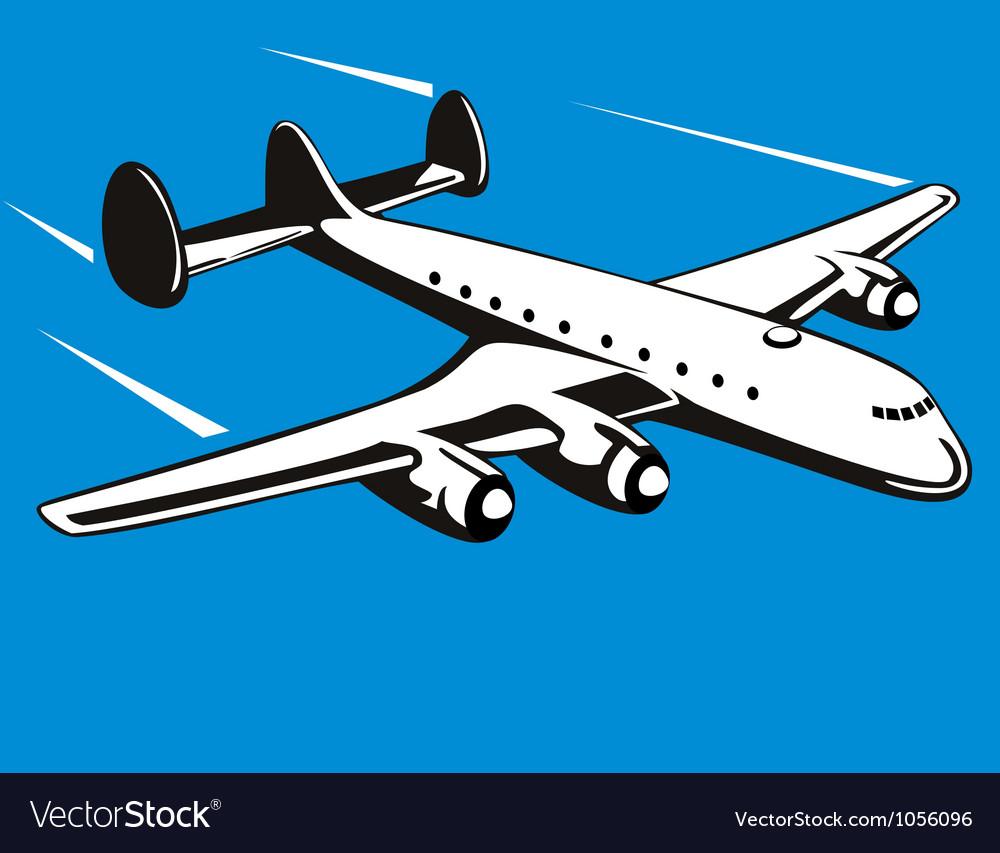 Propeller airplane retro vector | Price: 1 Credit (USD $1)