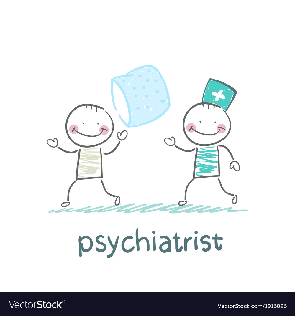 Psychiatrist catches patient with a pillow vector | Price: 1 Credit (USD $1)