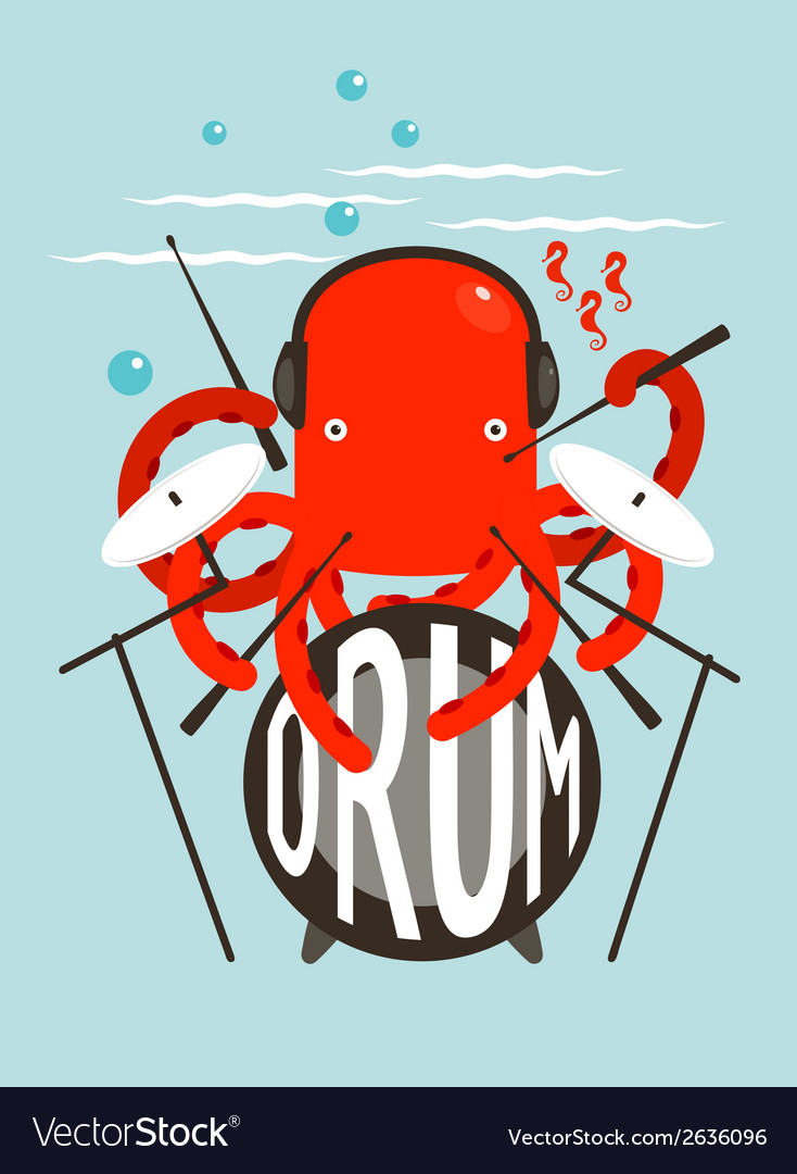 Red octopus playing drums vector | Price: 1 Credit (USD $1)