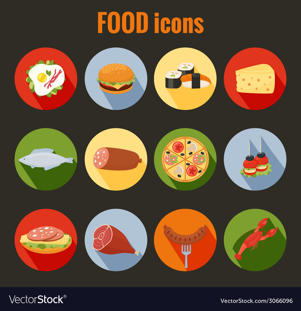 Set of food icons on colorful round buttons vector | Price: 1 Credit (USD $1)