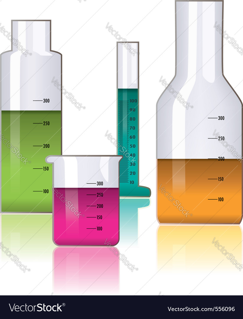 Set of laboratory glassware vector | Price: 1 Credit (USD $1)