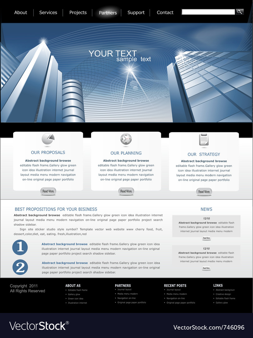 Web site is black and blue with building for busin vector | Price: 1 Credit (USD $1)