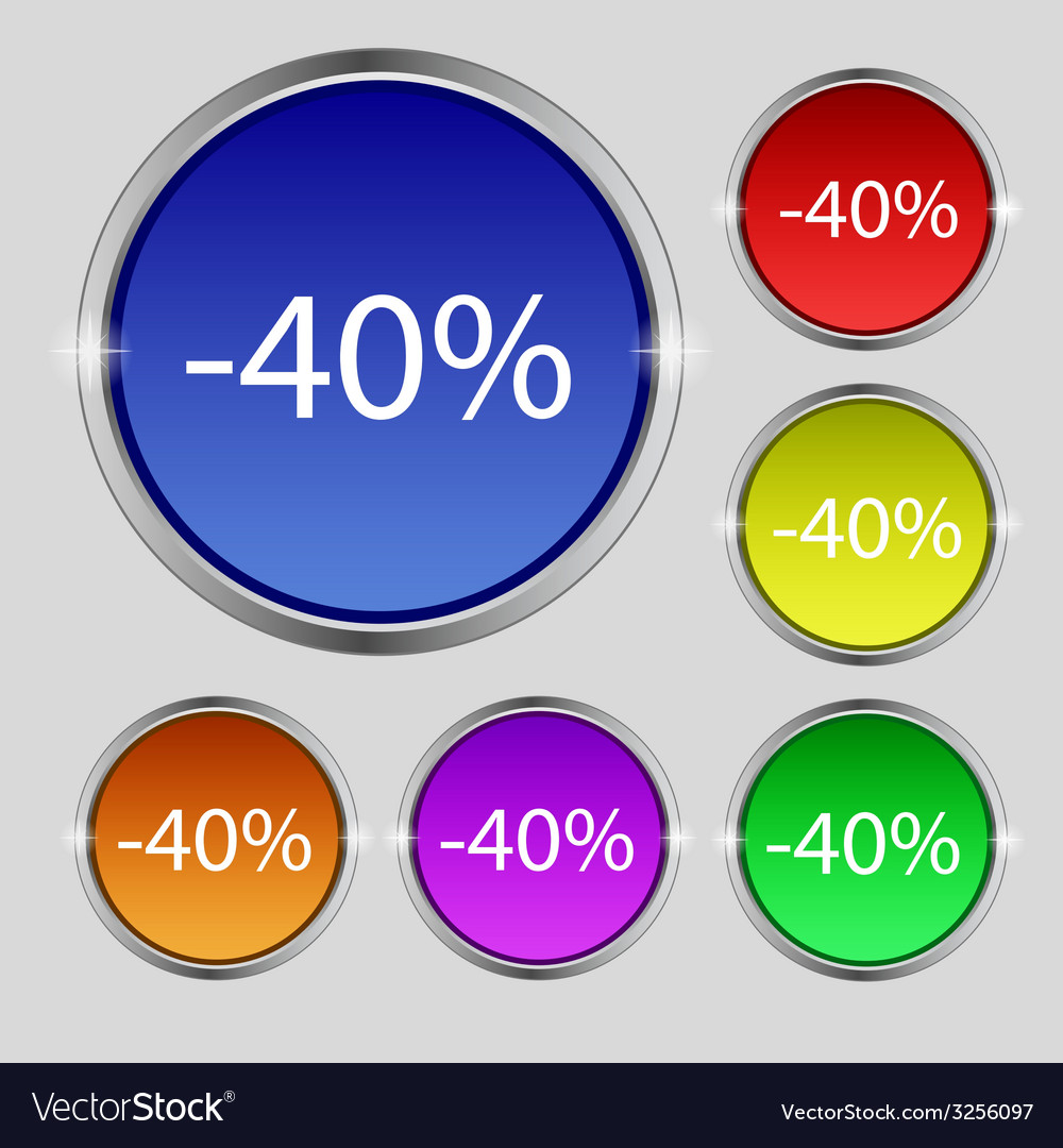 40 percent discount sign icon sale symbol special vector | Price: 1 Credit (USD $1)