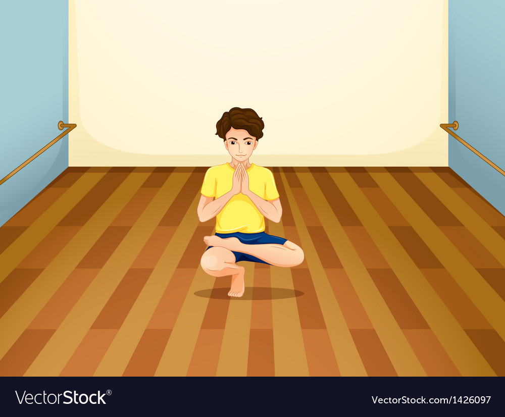A man performing yoga inside a room vector | Price: 1 Credit (USD $1)