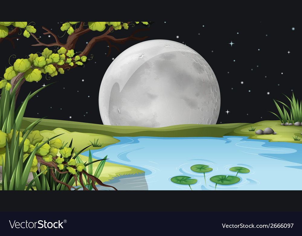 A pond under the fullmoon vector   Price: 1 Credit (USD $1)