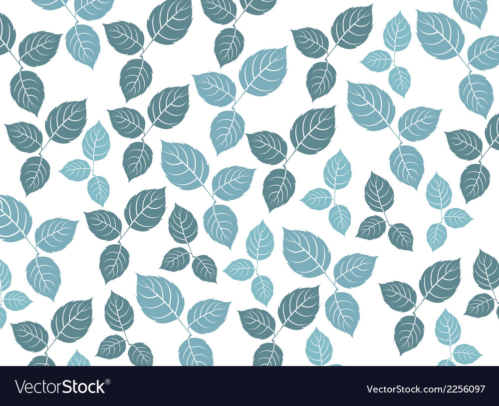 Blue leaf pattern on a white background vector | Price: 1 Credit (USD $1)