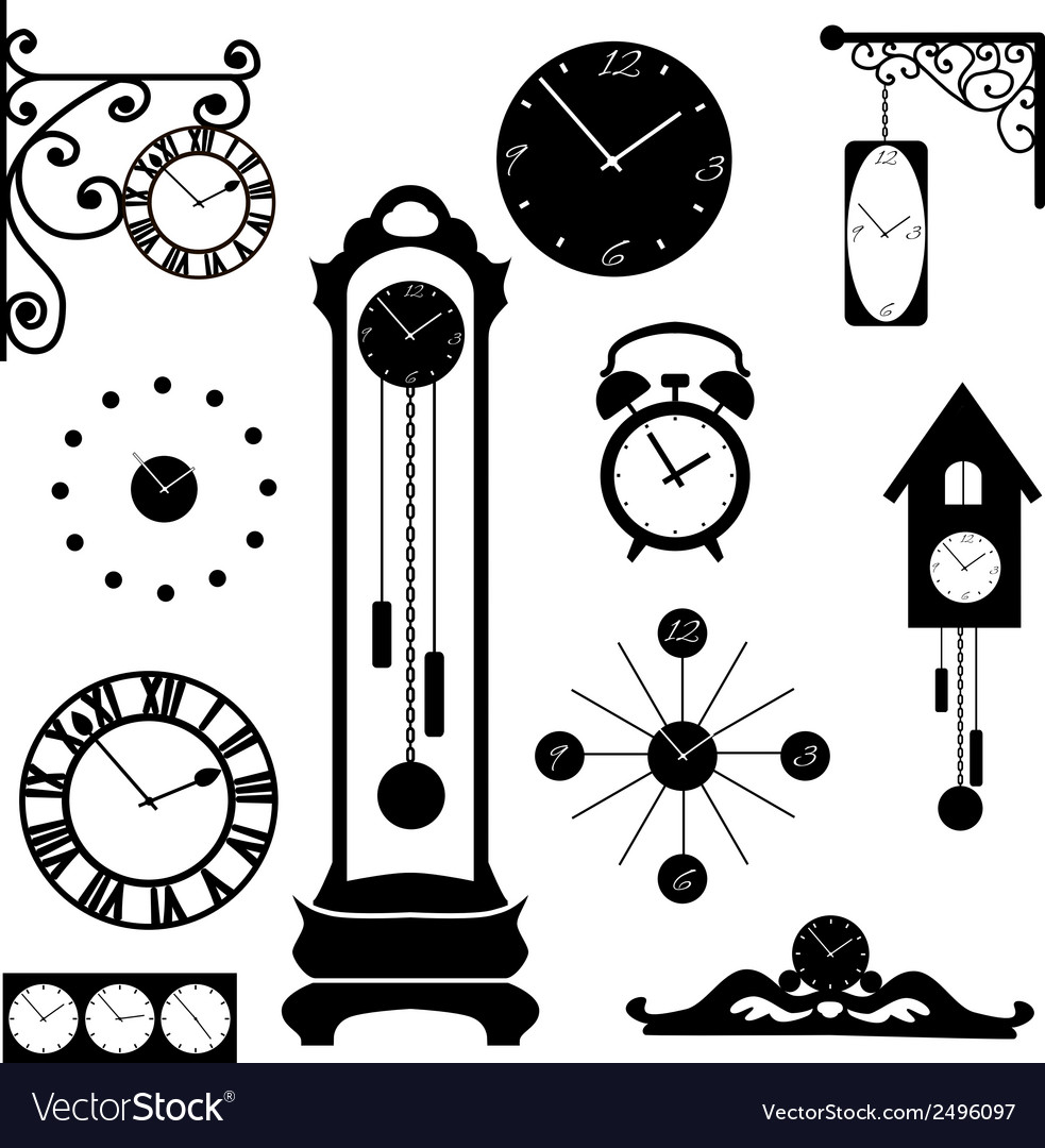 Clock and watch collection black interior element vector | Price: 1 Credit (USD $1)