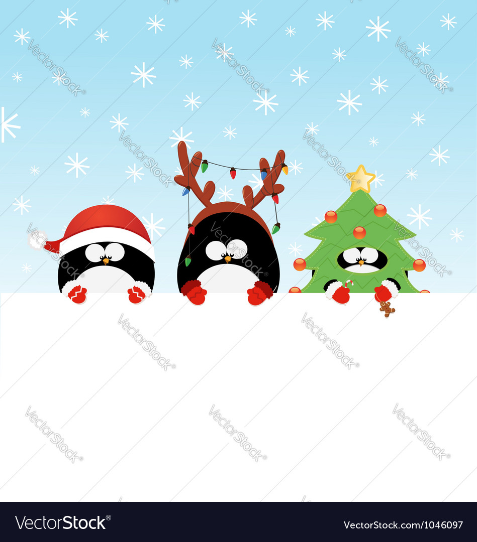 Costumed penguins with paper vector | Price: 1 Credit (USD $1)