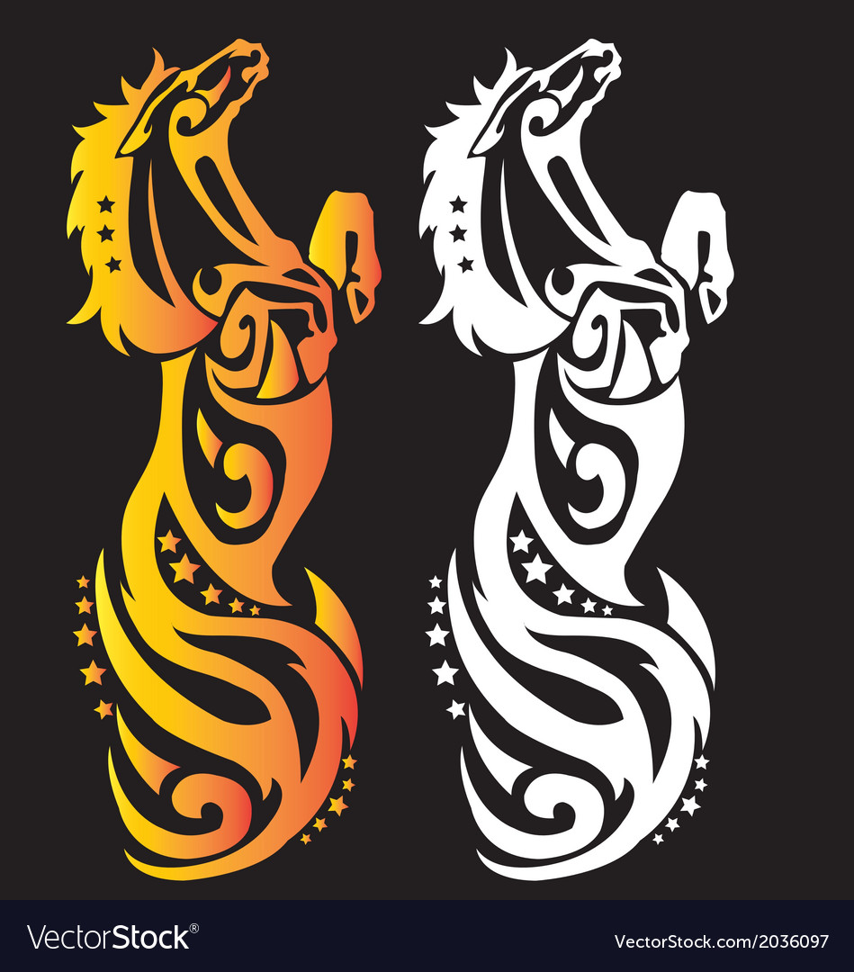 Decorative beautiful jump horse with fire vector | Price: 1 Credit (USD $1)