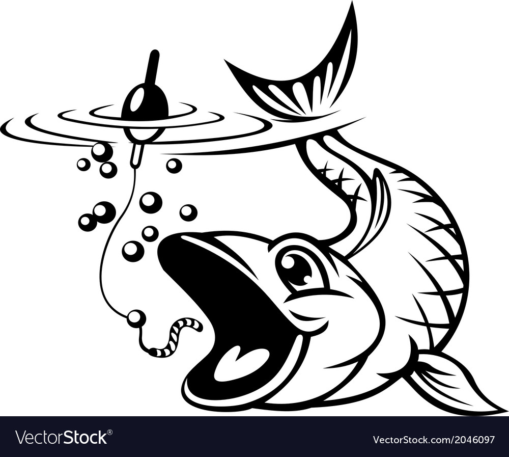Fish catching a hook vector | Price: 1 Credit (USD $1)