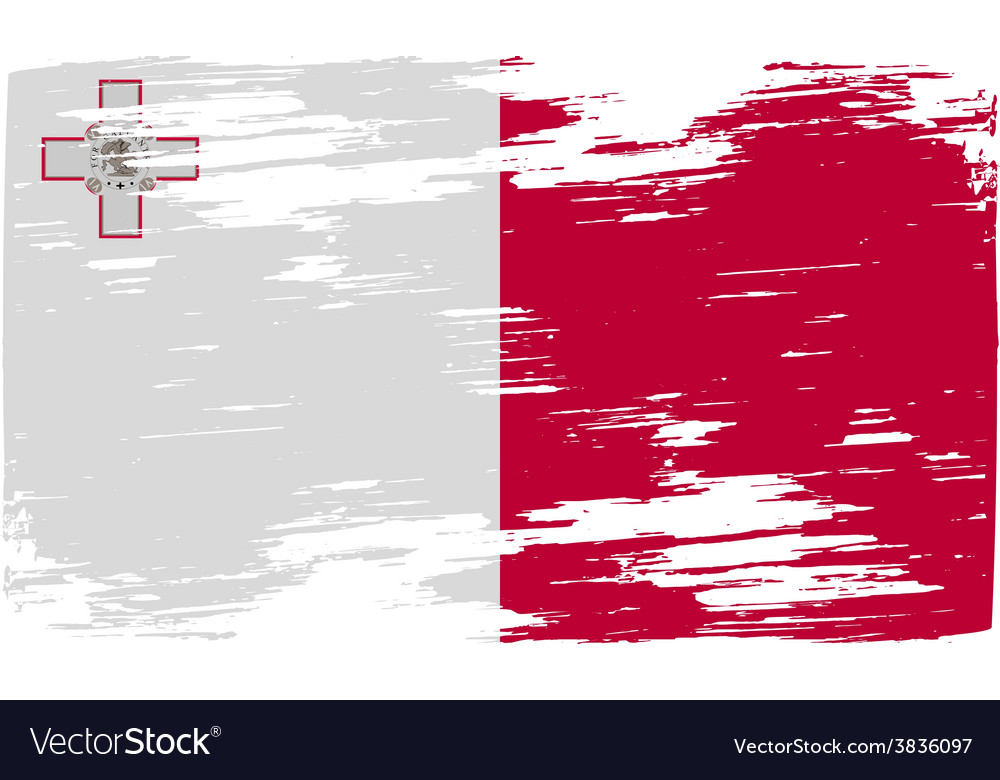 Flag of malta with old texture vector | Price: 1 Credit (USD $1)