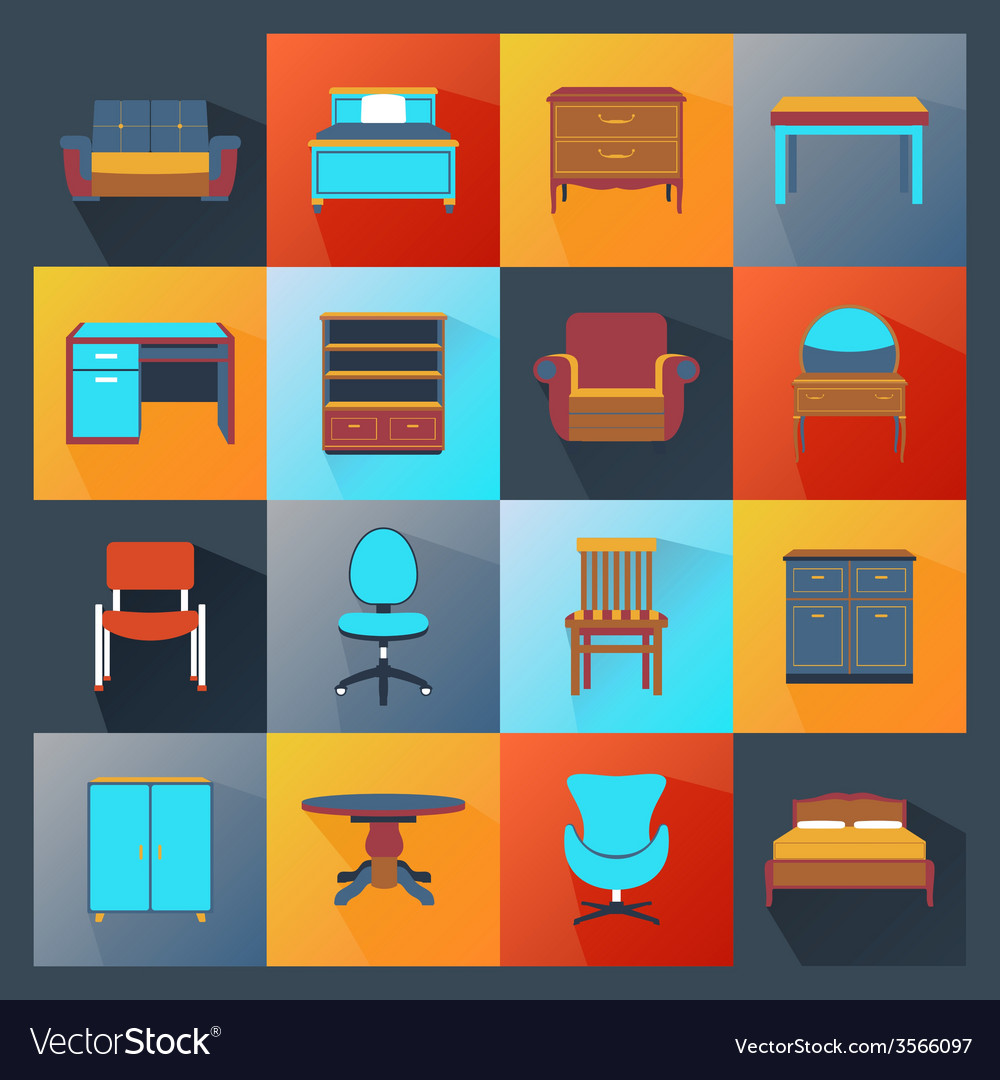 Furniture icons flat vector | Price: 1 Credit (USD $1)