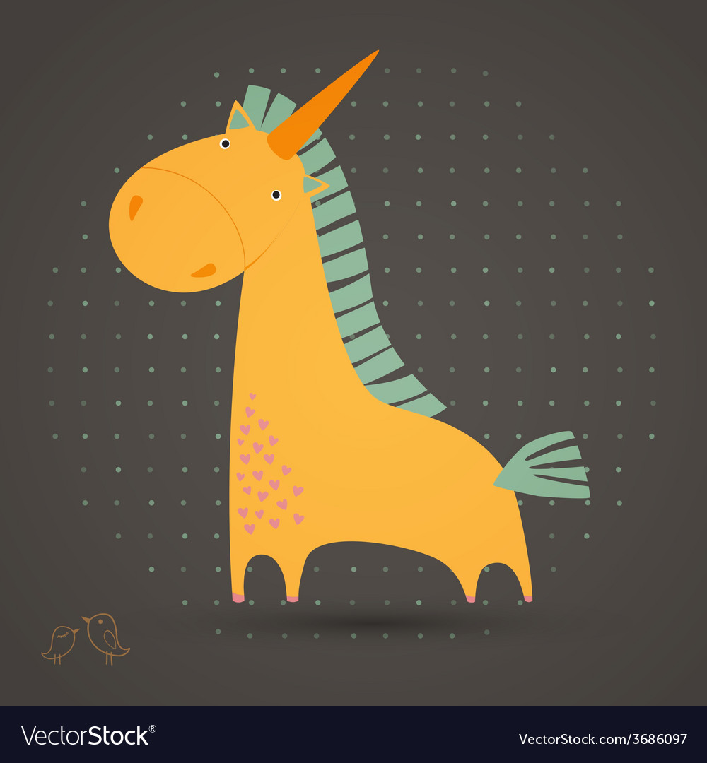 Greeting card with cute unicorn vector | Price: 1 Credit (USD $1)