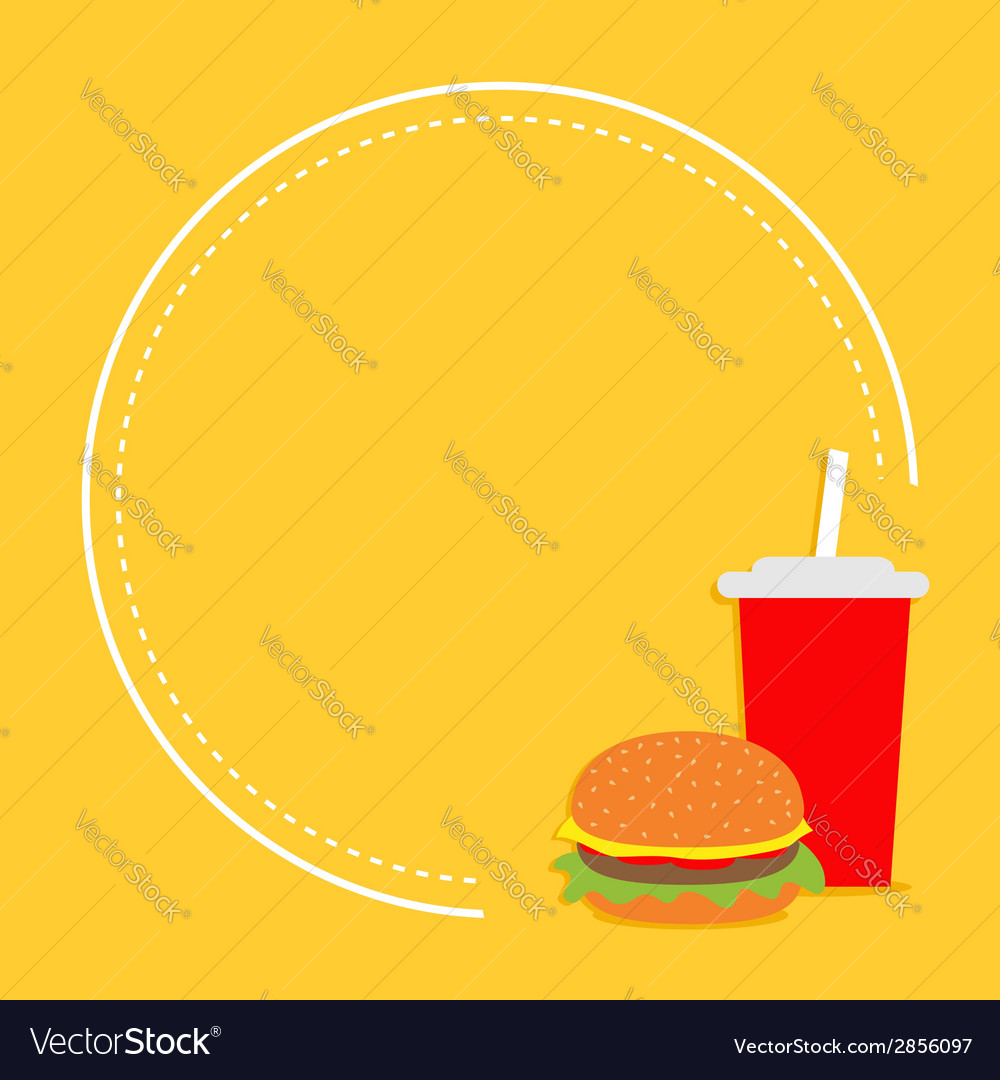 Hamburger and soda with straw cinema round frame vector | Price: 1 Credit (USD $1)
