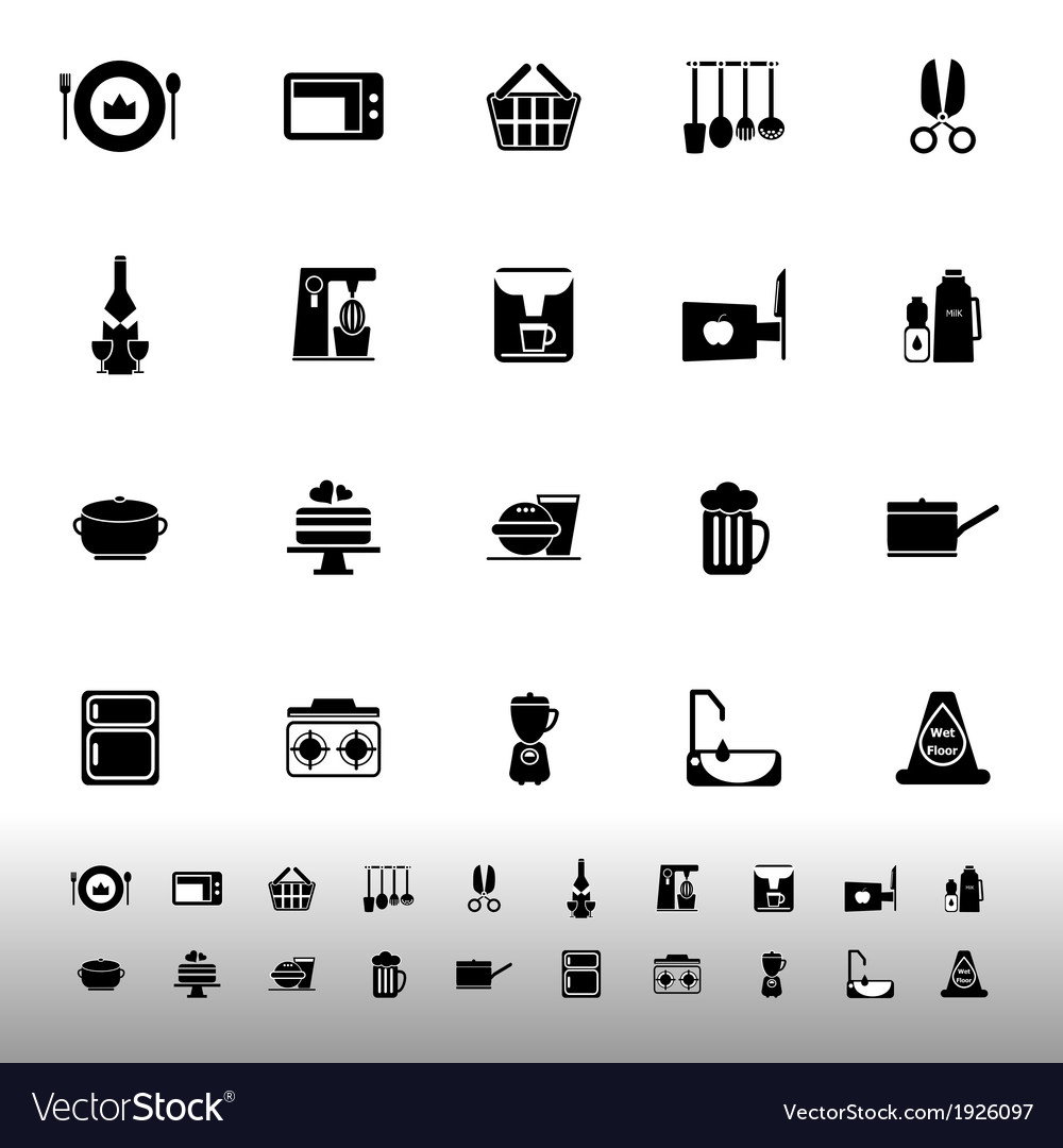 Home kitchen icons on white background vector | Price: 1 Credit (USD $1)