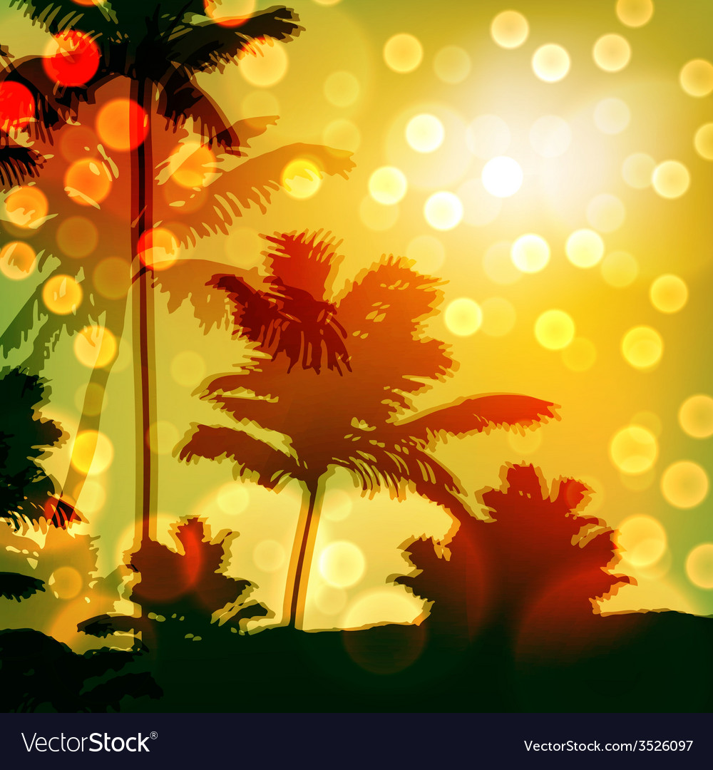 Sea sunset with island and palm trees vector   Price: 1 Credit (USD $1)