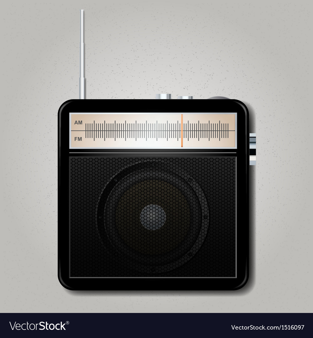 Square retro radio vector | Price: 1 Credit (USD $1)