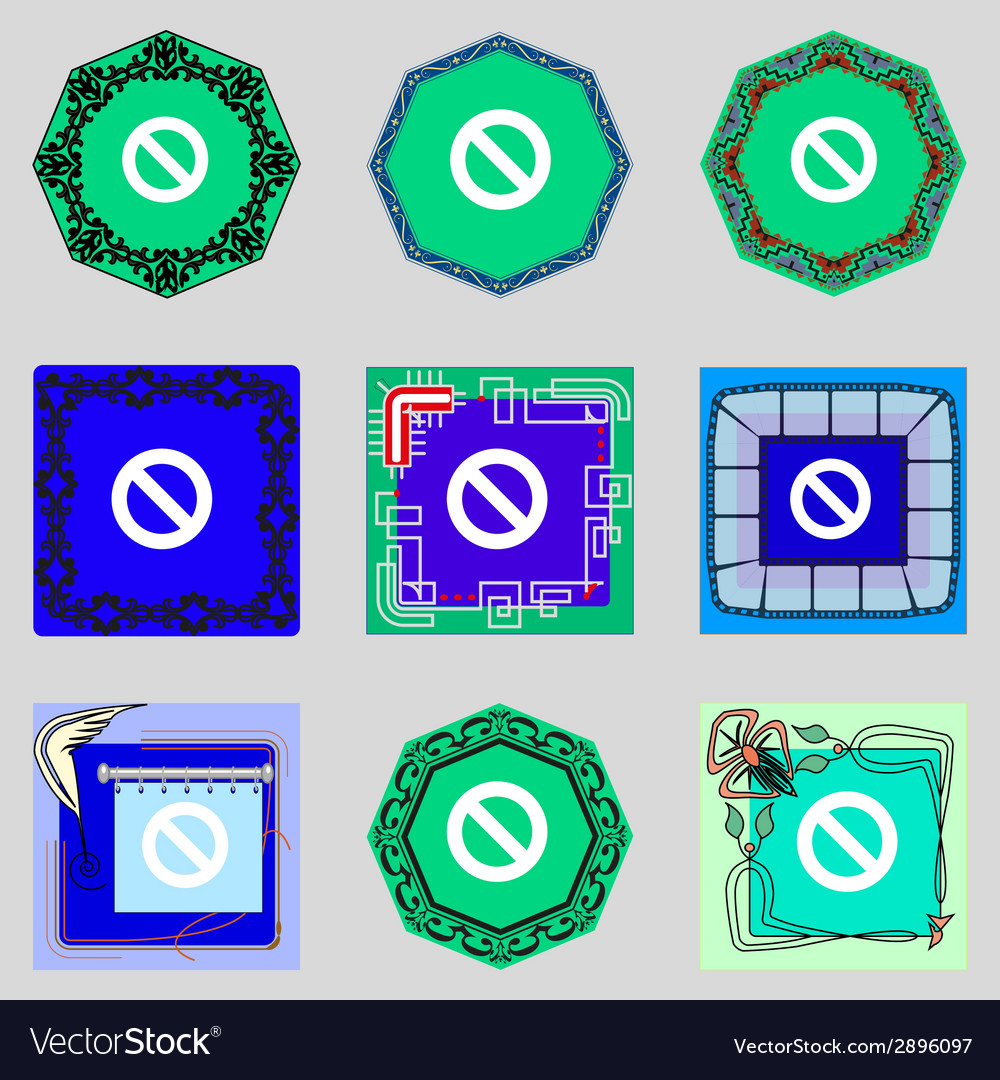 Stop sign icon prohibition symbol no sign set vector | Price: 1 Credit (USD $1)