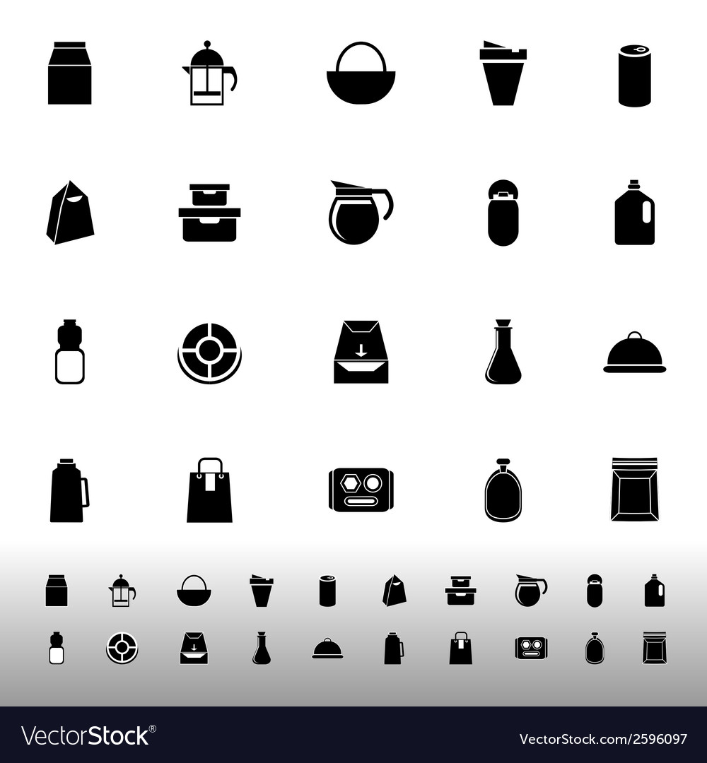 Variety food package icons on white background vector | Price: 1 Credit (USD $1)