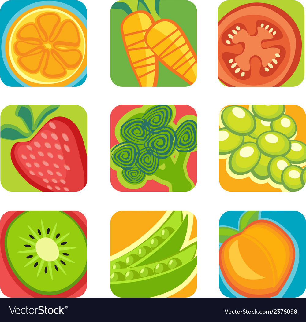 Abstract fruit and vegetable icons vector | Price: 1 Credit (USD $1)