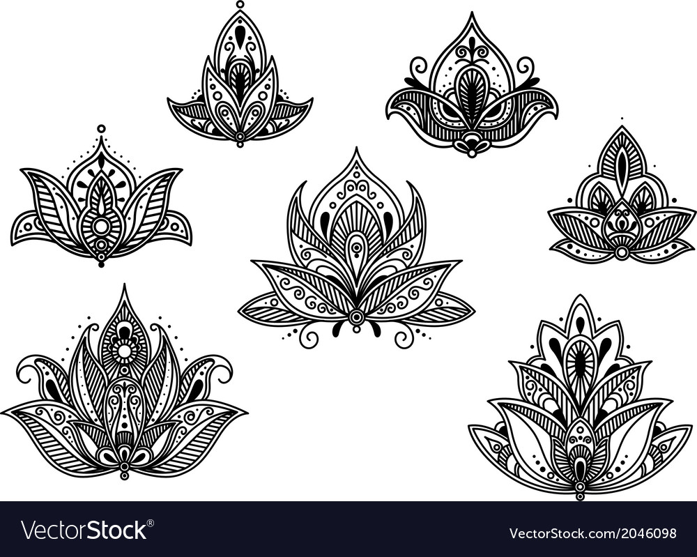Abstract persian and indian flower blossoms vector | Price: 1 Credit (USD $1)