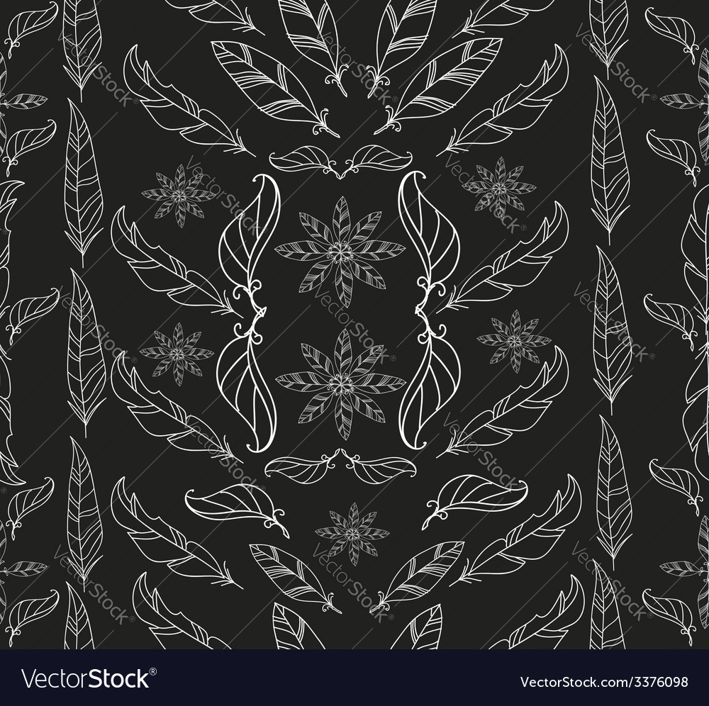 Abstract vintage feather and floral pattern vector | Price: 1 Credit (USD $1)
