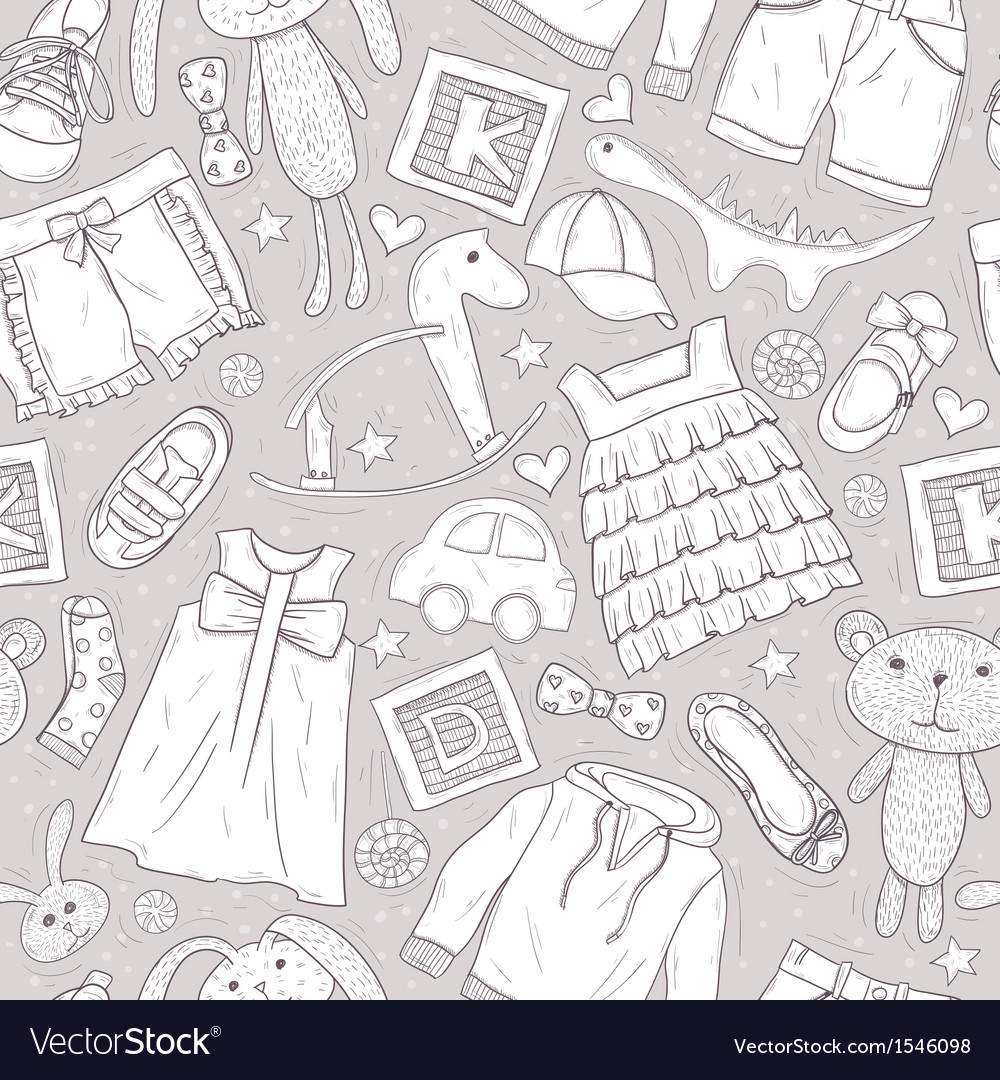 Cute patter with toys and clothes for children vector | Price: 1 Credit (USD $1)