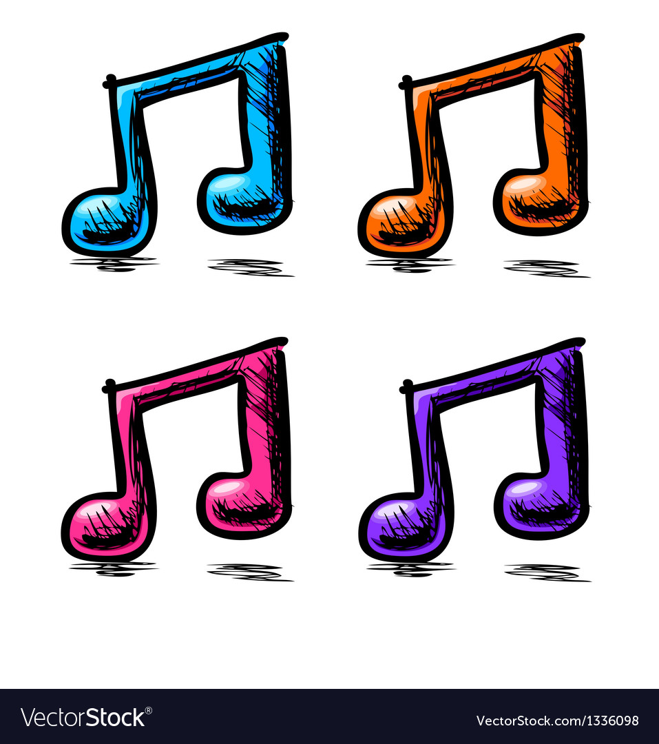 Double music notes set in childish doodle style vector | Price: 1 Credit (USD $1)