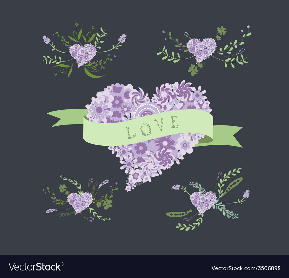 Floral clip art floral heart elements vector